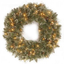 National Tree Company 30 in. Glittery Bristle Pine Artificial Wreath with Clear Lights-QGB3-323-30WM 300154629