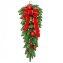 National Tree Company 32 in. Battery Operated Mixed Fir Artificial Teardrop with 50 Clear LED Lights-DC3-186-32TB-1 206084827