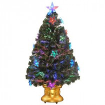 National Tree Company 36 in. Fiber Optic Fireworks Artificial Christmas Tree with Star Decorations-SZSX7-112-36 205331322