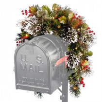 National Tree Company 36 in. Wintry Pine Mailbox Swag with Battery Operated Warm White LED Lights-WP1-300-3MB-1 300487277