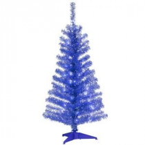 National Tree Company 4 ft. Blue Tinsel Artificial Christmas Tree with Clear Lights-TT33-307-40 300487964
