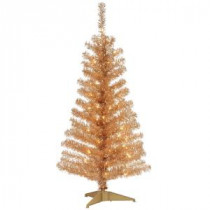 National Tree Company 4 ft. Champagne Tinsel Artificial Christmas Tree with Clear Lights-TT33-302-40 300487973