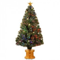 National Tree Company 4 ft. Fiber Optic Fireworks Artificial Christmas Tree with Gold Lanterns-SZLX7-111L-48 300496229