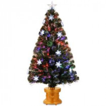 National Tree Company 4 ft. Fiber Optic Fireworks Artificial Christmas Tree with Snowflakes-SZFB7-119L-48 300496193