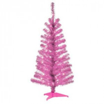 National Tree Company 4 ft. Pink Tinsel Artificial Christmas Tree with Clear Lights-TT33-306-40 300487962