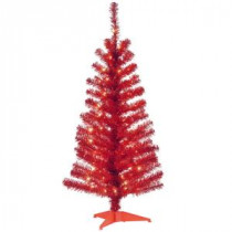National Tree Company 4 ft. Red Tinsel Artificial Christmas Tree with Clear Lights-TT33-305-40 300487968