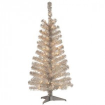 National Tree Company 4 ft. Silver Tinsel Artificial Christmas Tree with Clear Lights-TT33-300-40 300487970
