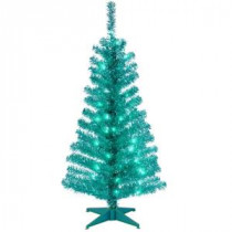 National Tree Company 4 ft. Turquoise Tinsel Artificial Christmas Tree with Clear Lights-TT33-314-40 300487971