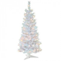 National Tree Company 4 ft. White Iridescent Tinsel Artificial Christmas Tree with Clear Lights-TT33-313-40 300487958