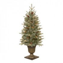 National Tree Company 4.5 ft. Feel-Real Alaskan Spruce Potted Artificial Christmas Tree with Pinecones and 100 Clear Lights-PEFA1-309-45 205080009