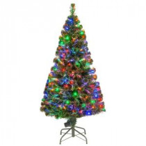 National Tree Company 5 ft. Fiber Optic LED Evergreen Artificial Christmas Tree with 150 Multi Lights in 16 in. Folding Stand-SZE7-147-60 205331306