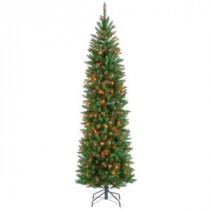National Tree Company 6.5 ft. Kingswood Fir Pencil Artificial Christmas Tree with Multicolor Lights-KW7-313-65 207183187