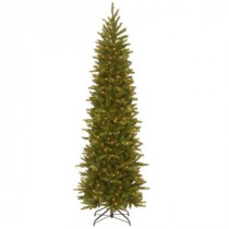 National Tree Company 7-1/2 ft. Feel Real Grande Fir Pencil Slim Hinged Artificial Christmas Tree with 350 Clear Lights-PEGF4-334-75 207183262