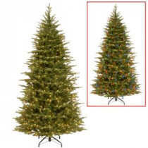 National Tree Company 7.5 ft. Nordic Spruce Slim Artificial Christmas Tree with Dual Color LED Lights-PENS4-337D-75 207183302