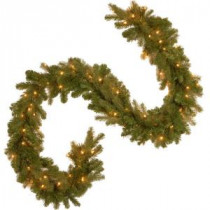 National Tree Company 9 ft. Feel-Real Downswept Douglas Fir Artificial Garland with 100 Clear Lights-PEDD4-371-9A-1 205945920