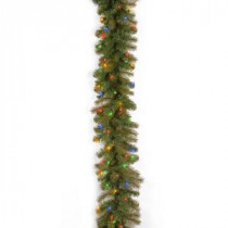National Tree Company 9 ft. Feel-Real Downswept Douglas Fir Artificial Garland with 100 Multi-Color Lights-PEDD4-371M-9A1 205945921