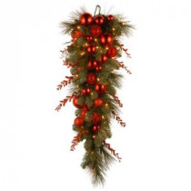 National Tree Company Decorative Collection 36 in. Christmas Red Mixed Teardrop with Battery Operated Warm White LED Lights-DC13-159-36TB-1 300441250