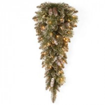 National Tree Company Glittery Bristle 36 in. Pine Teardrop with Battery Operated Warm White LED Lights-GB3-335-30T-B1 300441251