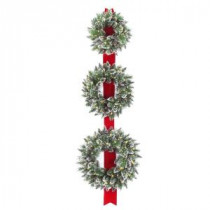 National Tree Company Glittery Bristle Triple 77 in. Artificial Wreath Door Hang with Battery Operated Warm White LED Lights-GB1-300LT-18W-B 300154656