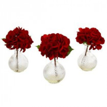 Nearly Natural 12 in. Red Hydrangea with Glass Vase (Set of 3)-4895-S3 206585527