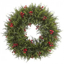 Nearly Natural 20 in. Cedar Berry Artificial Wreath-4891 206733621