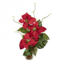 Nearly Natural 20.0 in. H Red Poinsettia with Fluted Vase Silk Flower Arrangement-1263 203141463