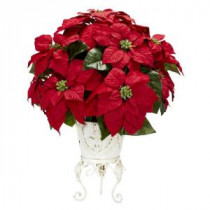 Nearly Natural 21.0 in. H Red Poinsettia with Metal Planter Silk Flower Arrangement-1267 203141466