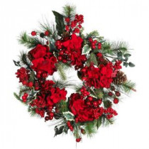 Nearly Natural 22 in. Holiday Hydrangea Wreath-4661 100653811