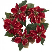 Nearly Natural 22 in. Poinsettia, Pine Cone and Burlap Artificial Wreath-4871 206585514