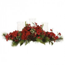 Nearly Natural 30 in. Holiday Hydrangea Candelabrum-4659 100686419