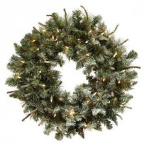 Nearly Natural 30 in. Lighted Frosted Pine Artificial Wreath-4861 206585508