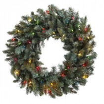 Nearly Natural 30 in. Pine Artificial Wreath with Colored Lights-4862 206585509