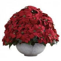 Nearly Natural Holiday 34 in. W x 34 in. D x 29.75 in. H Giant Poinsettia Arrangement with Decorative Planter-1345 206585495