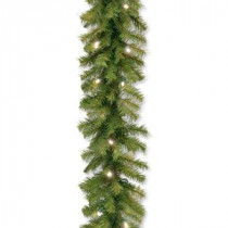 Norwood Fir 9 ft. Garland with Battery Operated Warm White LED Lights-NF3-308-9A-B 300330651