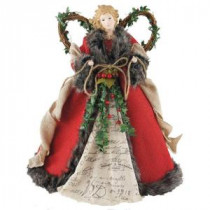 Santa's Workshop 16 in. Angel Tree Topper Red Homespun with Garland-3096 206457048